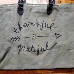 Thankful & Grateful Lined Totebag w/ Leather -Tan